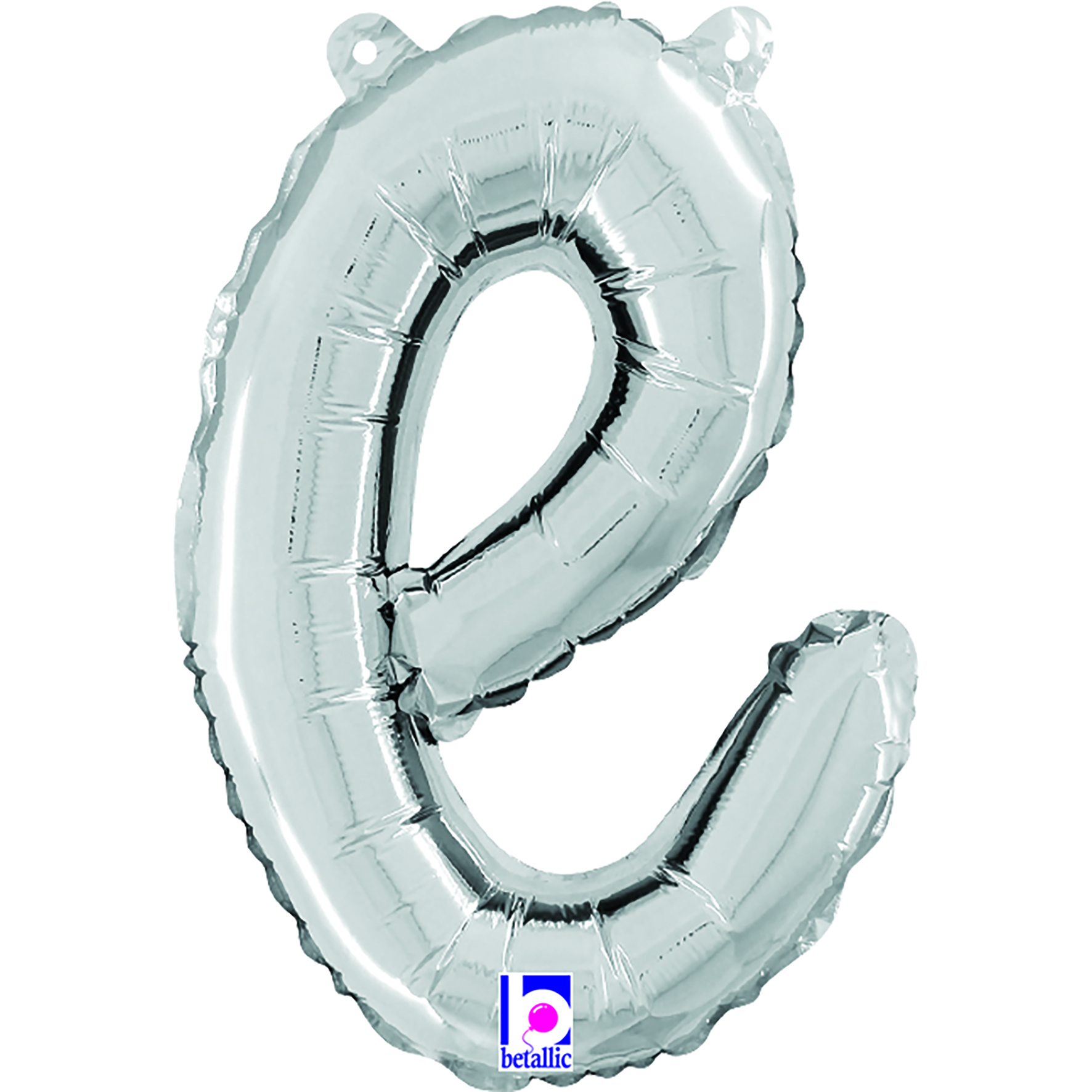 """14"""" Air Filled Only Script Letter """"E"""" Silver Foil Balloon"""