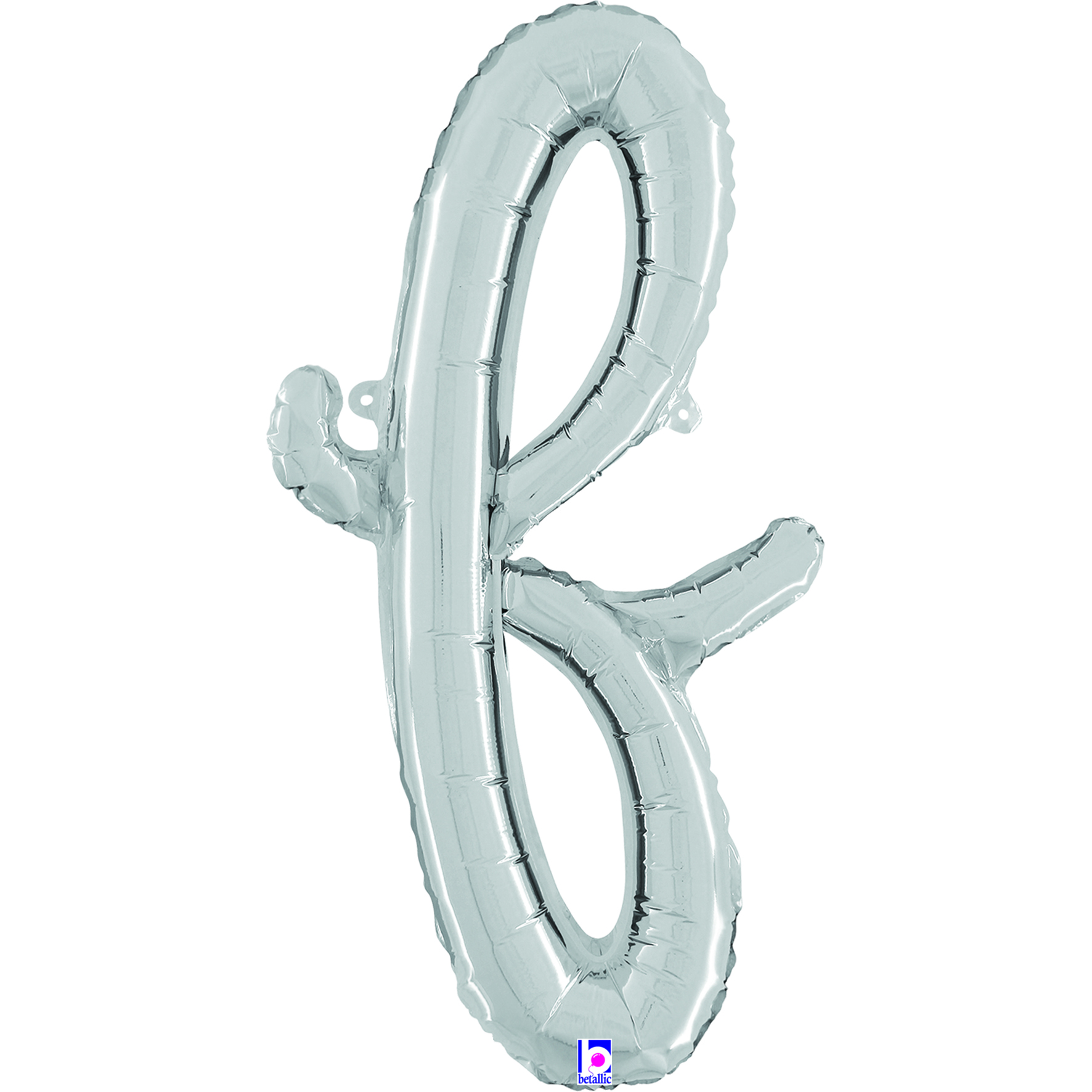 """24"""" Air Filled Only Script Letter """"F"""" Silver Foil Balloon"""