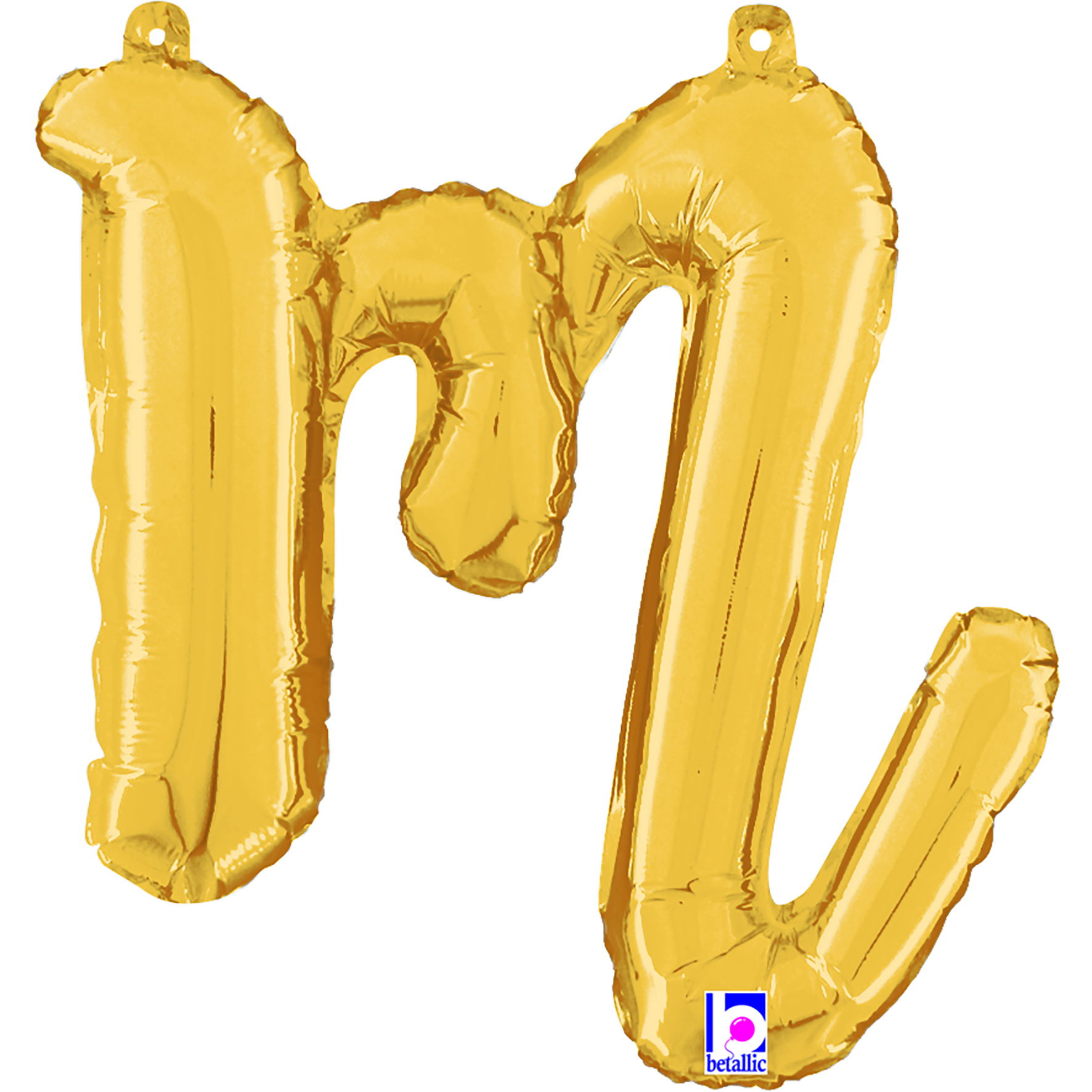 """14"""" Air Filled Only Script Letter """"M"""" Gold Foil Balloon"""
