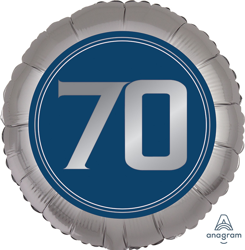 """18"""" SilveR/Blue Number 70 Foil Balloon"""