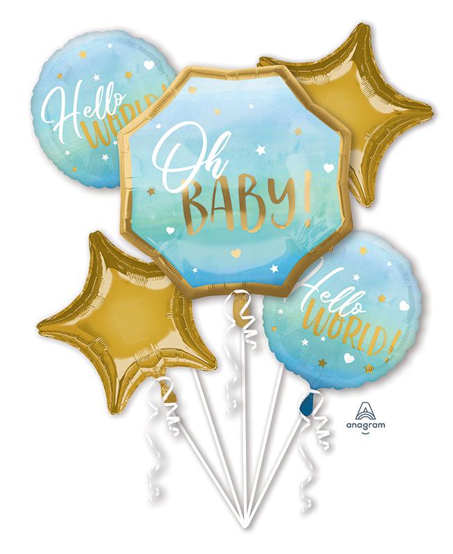 Bouquet Blue Baby Boy Foil Balloon