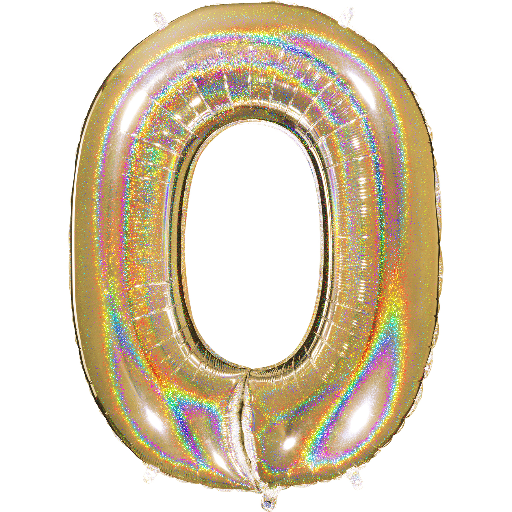 """40"""" Number """"0"""" Gold Glitter Holographic Balloons"""