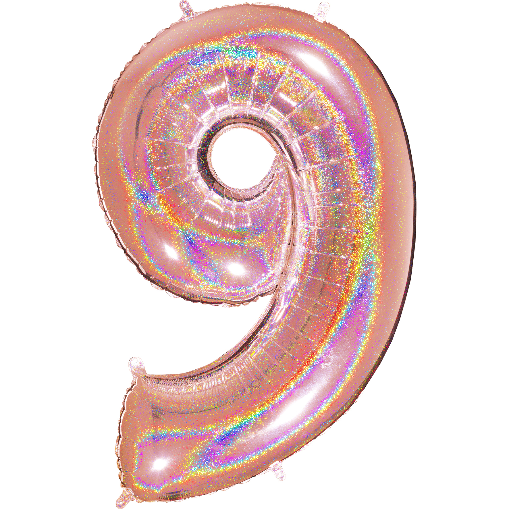 """40"""" Number """"9"""" Rose Gold Glitter Holographic Balloons"""