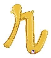 """14"""" Air Filled Only Script Letter """"R"""" Gold Foil Balloon"""