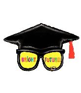 """39"""" Mighty Bright Grad Glasses Foil Balloon"""