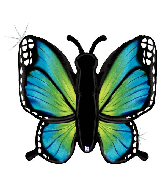 "46"" Holographic Radiant Butterfly-Blue Foil Balloon"