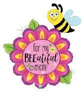 "38"" Holographic Bee-Utiful Mom Flower Foil Balloon"