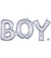 "20"" Airfill Only Block Phrase Boy Holographic Balloon"