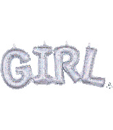 "22"" Airfill Only Block Phrase Girl Holographic Balloon"