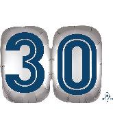 "25"" SuperShape™ Silver/Blue Number 30 Foil Balloon"