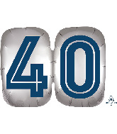 "25"" SuperShape™ Silver/Blue Number 40 Foil Balloon"