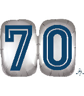 "25"" SuperShape™ Silver/Blue Number 70 Foil Balloon"