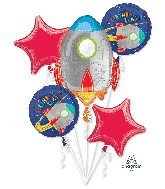 Bouquet Blast off Birthday Foil Balloon