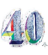 "27"" Holographic SuperShape™ Sparkles Number 40 Foil Balloon"
