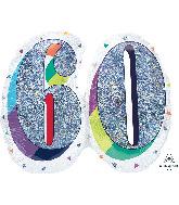"26"" Holographic SuperShape™ Sparkles Number 60 Foil Balloon"