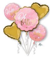 Bouquet Pink Baby Girl Foil Balloon