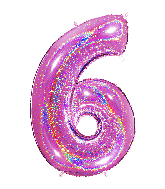 """40"""" Number """"6"""" Fucshia Glitter Holographic Balloons"""