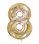"""40"""" Number """"8"""" Gold Glitter Holographic Balloons"""