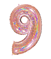 "40"" Number ""9"" Rose Gold Glitter Holographic Balloons"