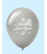 "11"" New Years Fireworks Latex Balloons Silver (25 Per Bag)"
