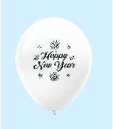 "11"" New Years Fireworks Latex Balloons White (25 Per Bag)"