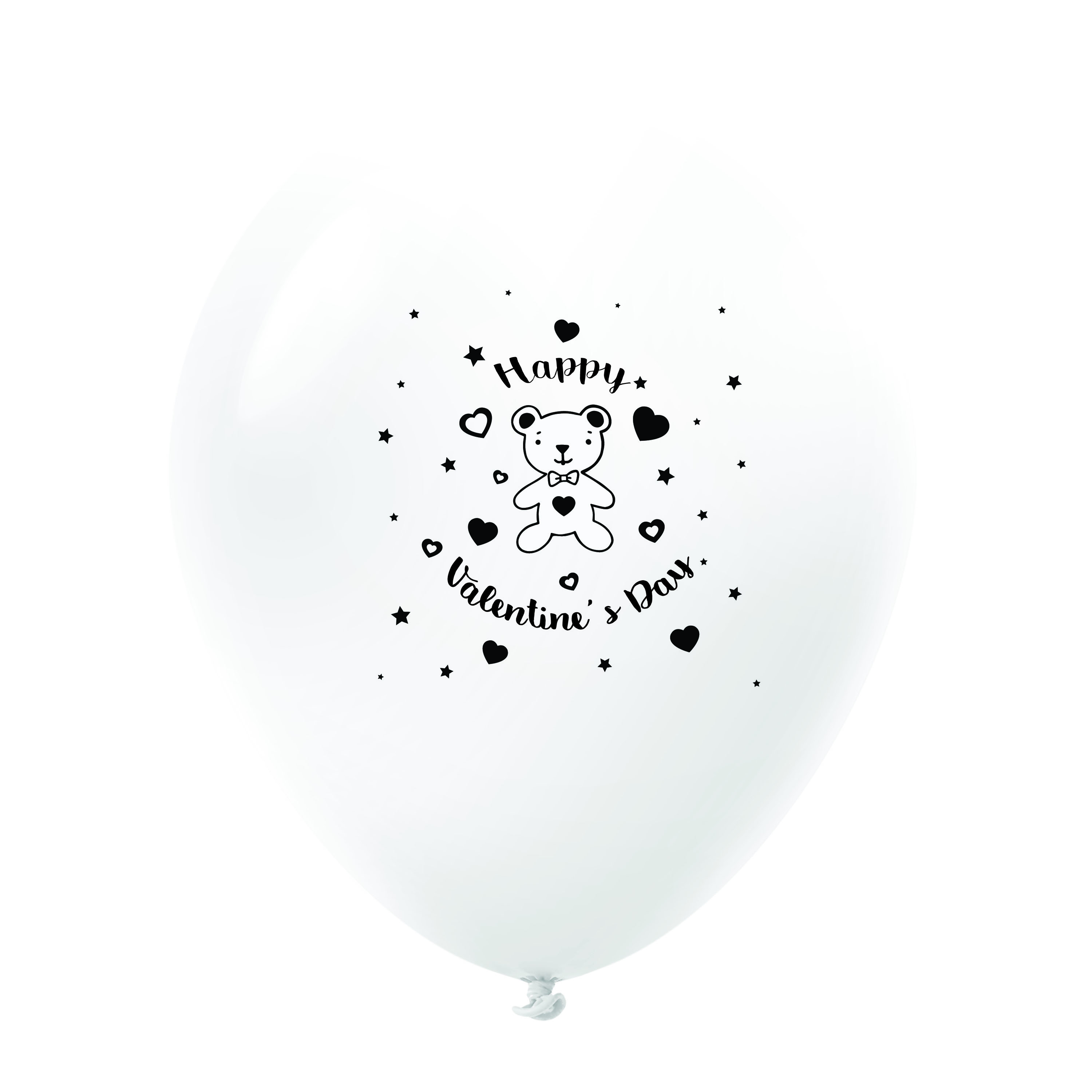 """11"""" Happy Valentine's Day Bear Latex Balloons 25 Count White"""