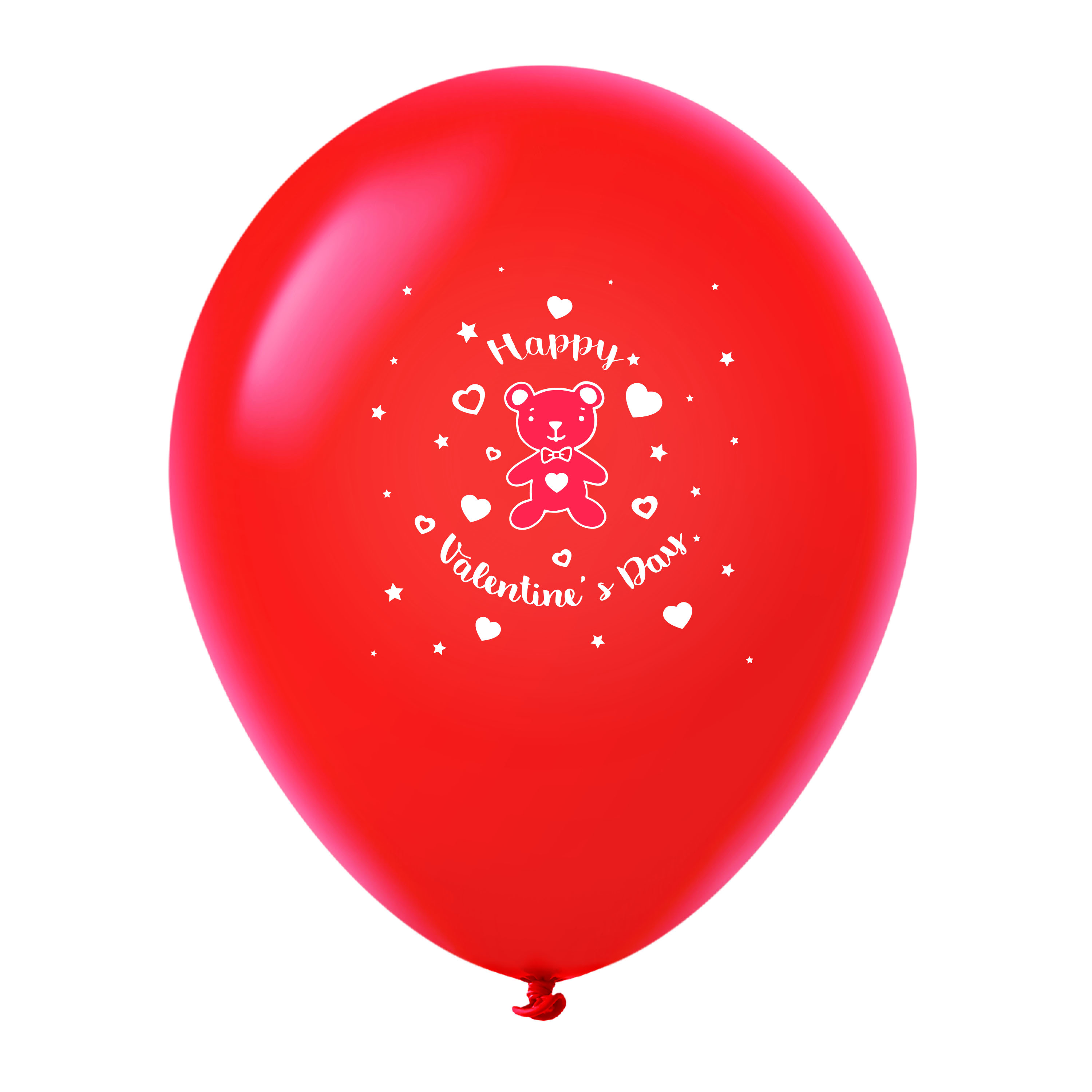 """11"""" Happy Valentine's Day Bear Latex Balloons 25 Count Red"""
