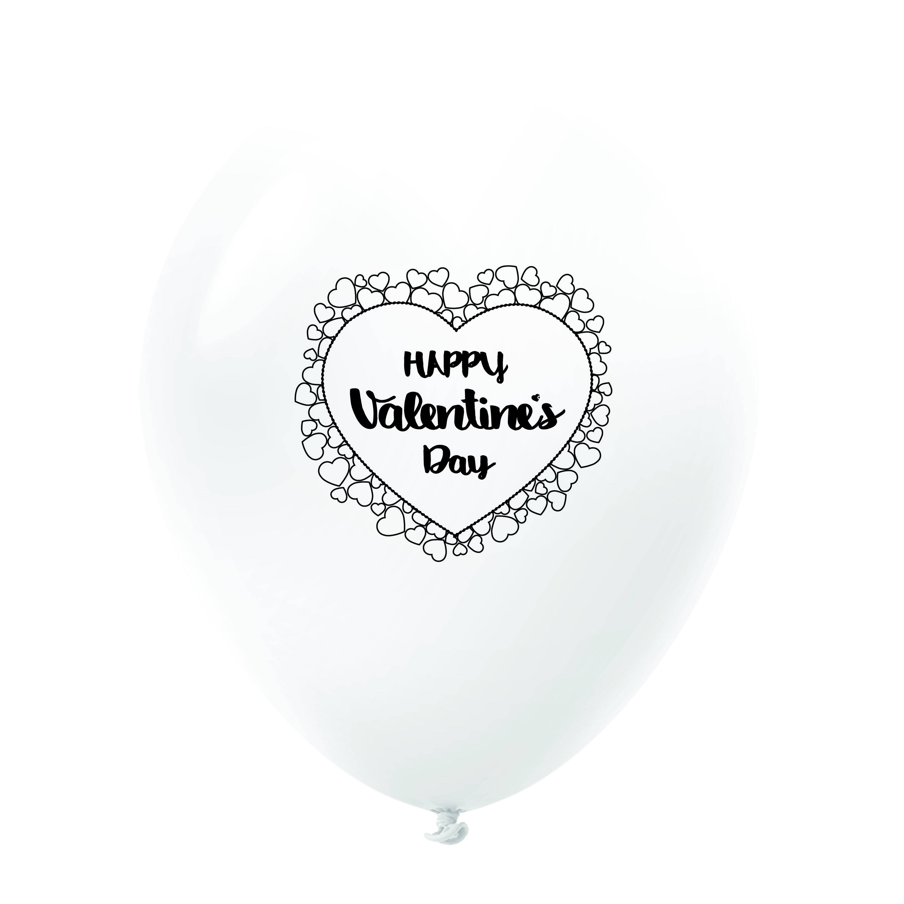 """11"""" Happy Valentine's Day Heart Border Latex Balloons 25 Count White"""