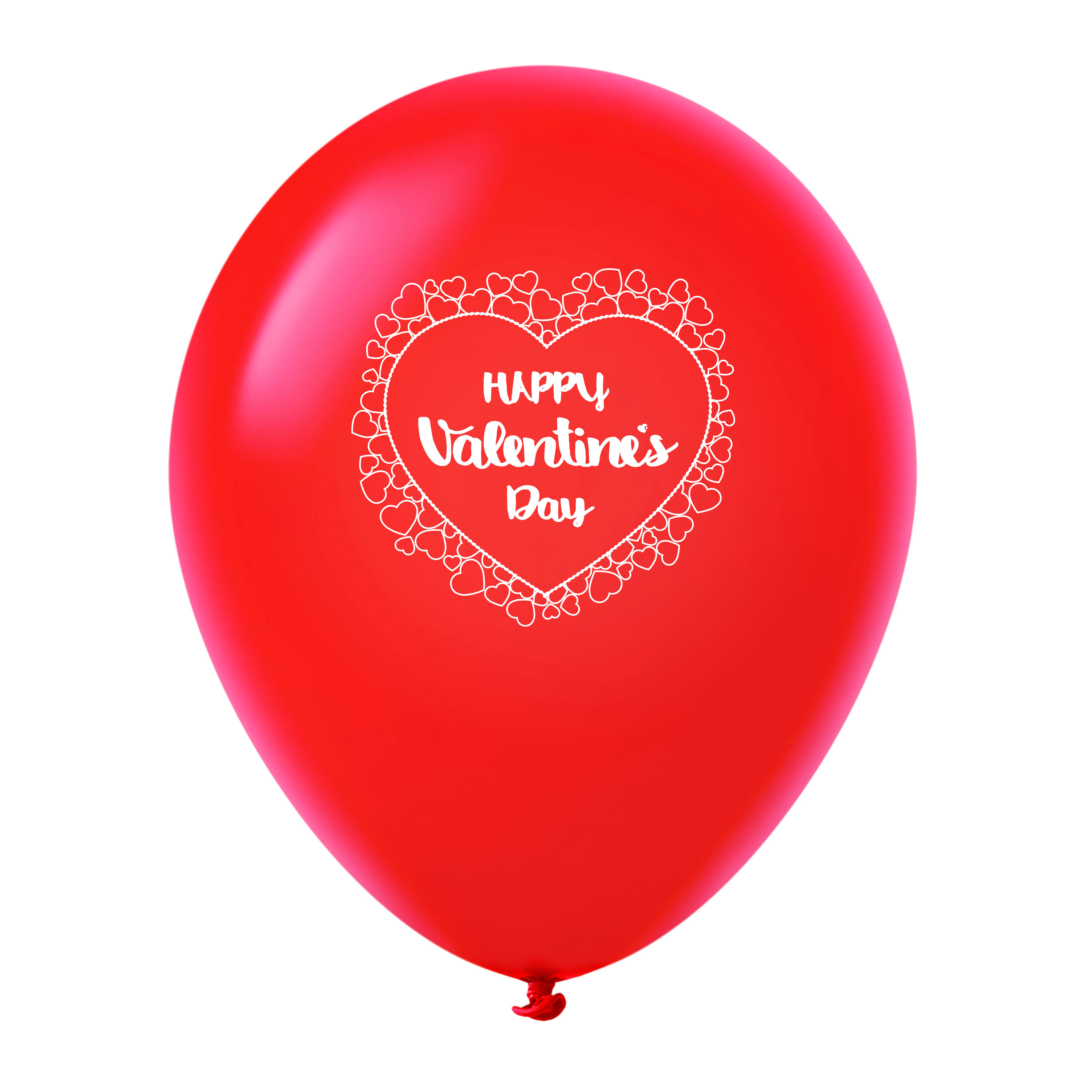 """11"""" Happy Valentine's Day Heart Border Latex Balloons 25 Count Red"""