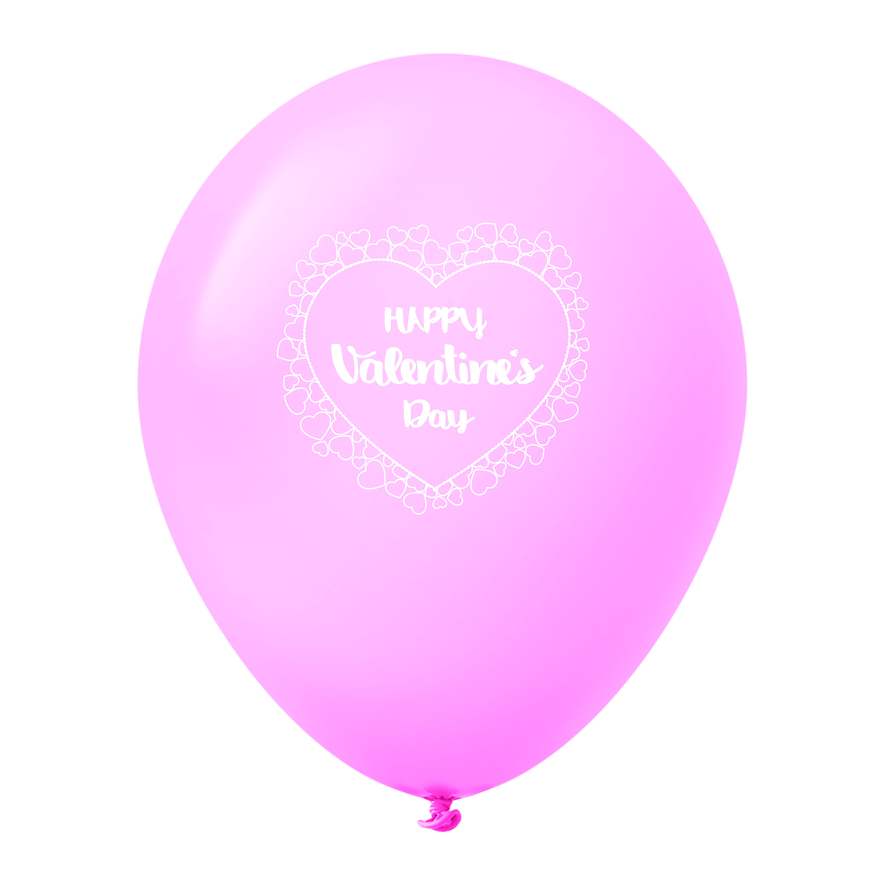 """11"""" Happy Valentine's Day Heart Border Latex Balloons 25 Count Pink"""