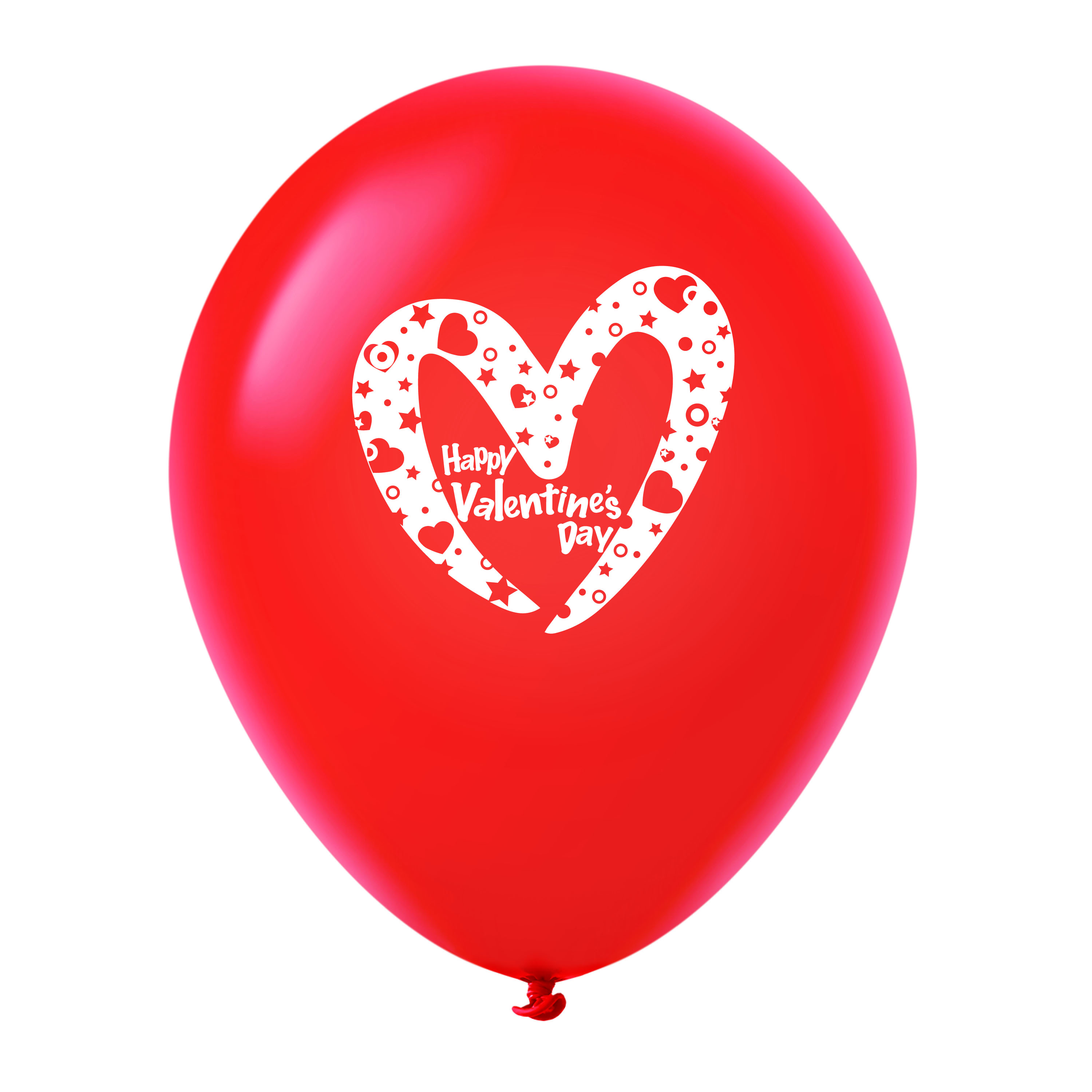 """11"""" Happy Valentine's Day Slanted Heart Latex Balloons 25 Count Red"""