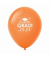 "11"" Congrats Grad 2021 Latex Balloons 25 Count Orange"