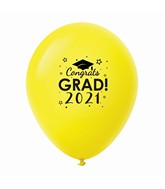 "11"" Congrats Grad 2021 Latex Balloons 25 Count Yellow"