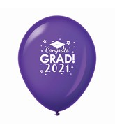 "11"" Congrats Grad 2021 Latex Balloons 25 Count Purple"