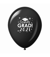 "11"" Congrats Grad 2021 Latex Balloons 25 Count Black"