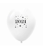 "11"" Year 2021 Stars Latex Balloons White (25 Per Bag)"