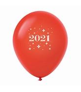 "11"" Year 2021 Stars Latex Balloons Red (25 Per Bag)"