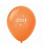 "11"" Year 2021 Stars Latex Balloons Orange (25 Per Bag)"
