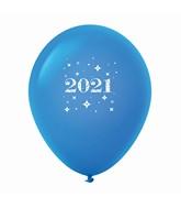 "11"" Year 2021 Stars Latex Balloons Blue (25 Per Bag)"