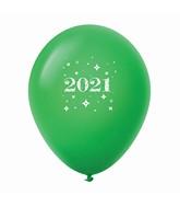 "11"" Year 2021 Stars Latex Balloons Green (25 Per Bag)"