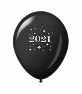 "11"" Year 2021 Stars Latex Balloons Black (25 Per Bag)"