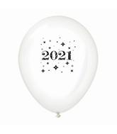 "11"" Year 2021 Stars Latex Balloons Clear (25 Per Bag)"