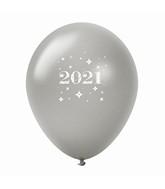 "11"" Year 2021 Stars Latex Balloons Silver (25 Per Bag)"
