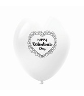 "11"" Happy Valentine's Day Heart Border Latex Balloons 25 Count White"