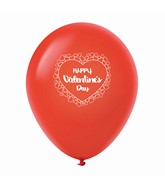 "11"" Happy Valentine's Day Heart Border Latex Balloons 25 Count Red"