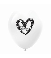 "11"" Happy Valentine's Day Slanted Heart Latex Balloons 25 Count White"