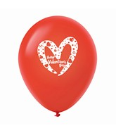 "11"" Happy Valentine's Day Slanted Heart Latex Balloons 25 Count Red"