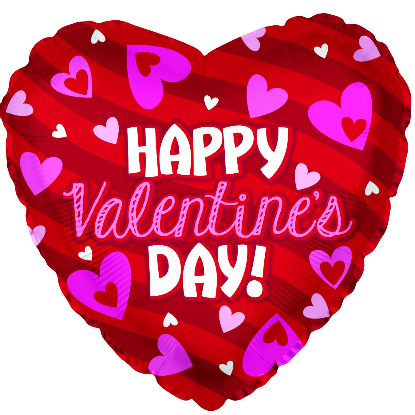 "18"" Happy Valentine's Day Stripes Foil Balloon"