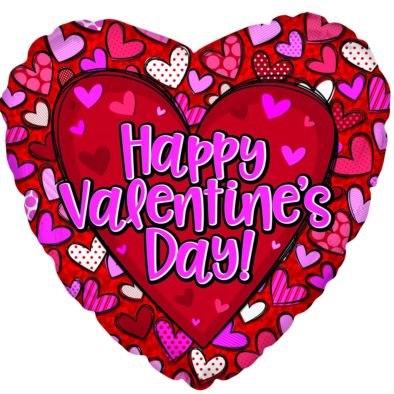 "17"" Happy Valentine's Day Pattern Hearts Foil Balloon"
