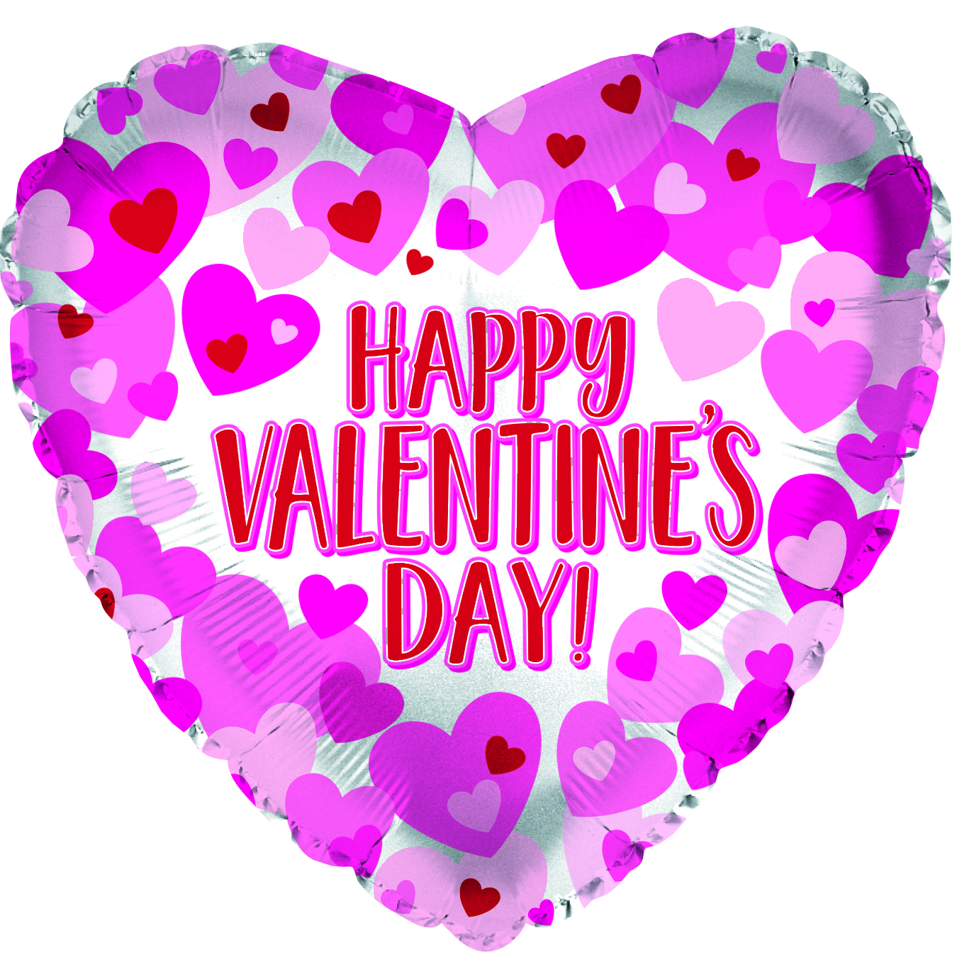 """17"""" Happy Valentine's Day Hearts On Pearl Foil Balloon"""